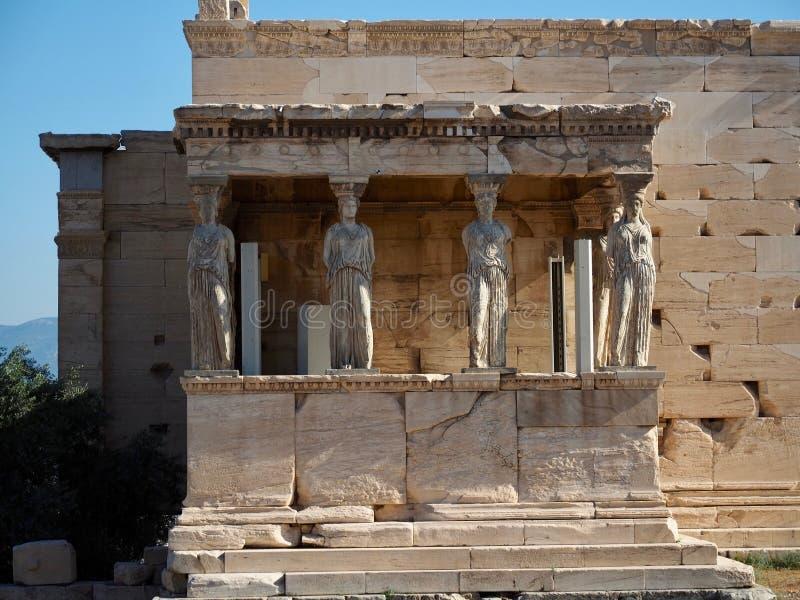 Столбцы кариатиды на Парфеноне стоковые изображения rf