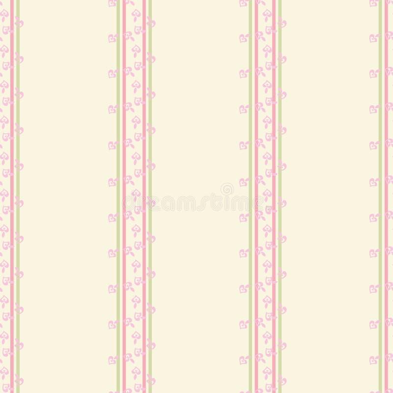 Столбцы розовых цветков на предпосылке сливк иллюстрация вектора