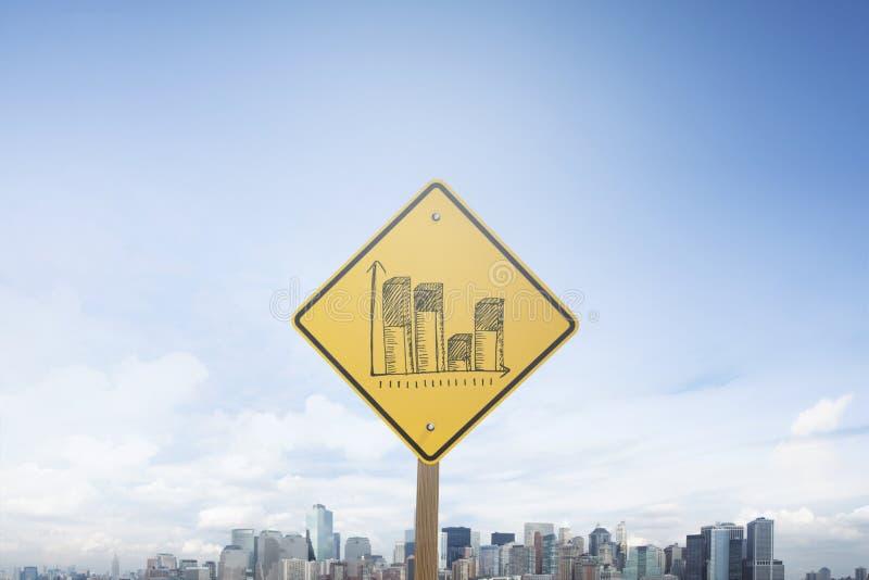 Столбчатая диаграмма концепции знака уличного движения стоковое изображение rf