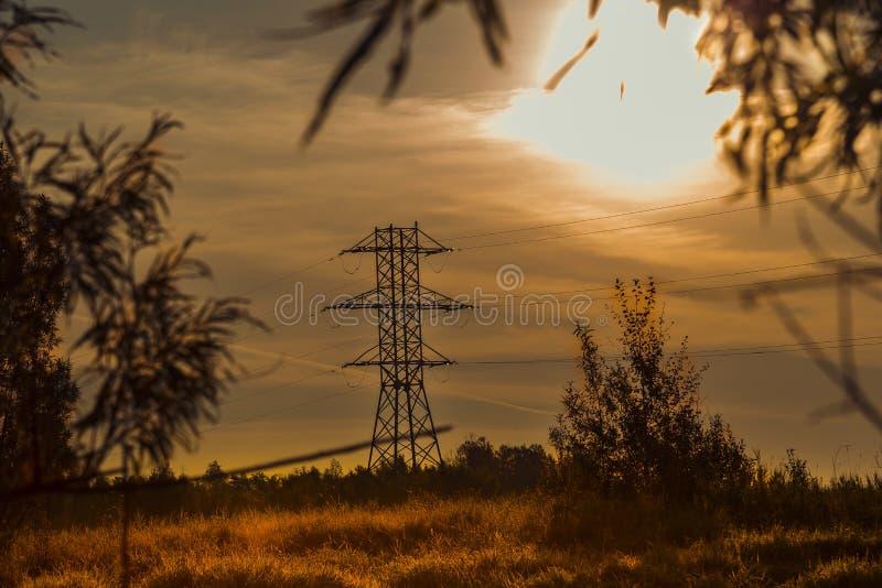 Столб высоковольтных линий электропередач в лучах заходящего солнца стоковая фотография