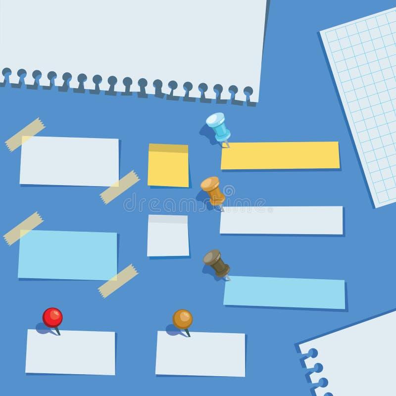 Столб оно замечает различные напоминания бумаги сообщения копирует иллюстрацию вектора мультфильма космоса своеобразную иллюстрация вектора