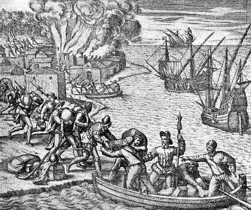 Столетие XVI: Испанские солдаты двигают их добычу на борту иллюстрация штока