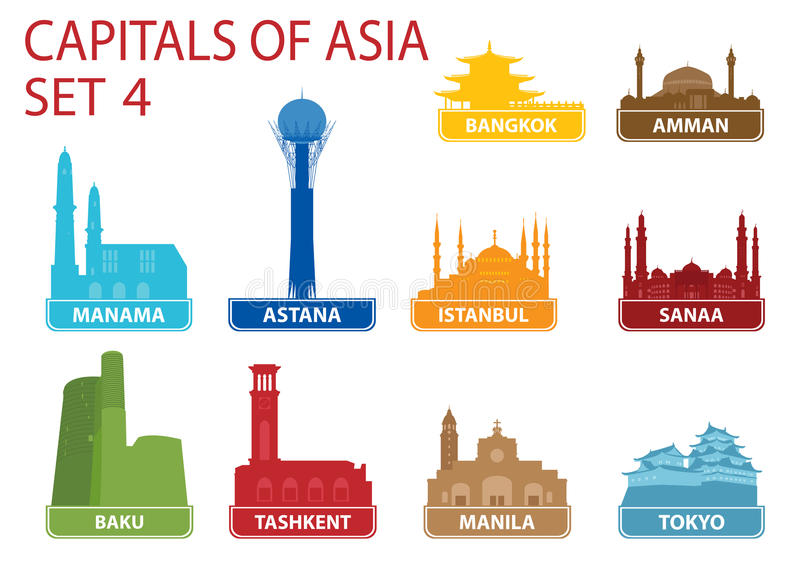 Столицы Азии бесплатная иллюстрация