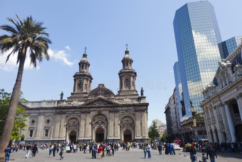 столичный житель santiago Чили de собора католический стоковая фотография rf