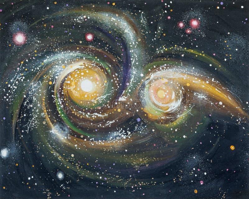 Столкновение галактик в космосе Автор: Nikolay Sivenkov бесплатная иллюстрация