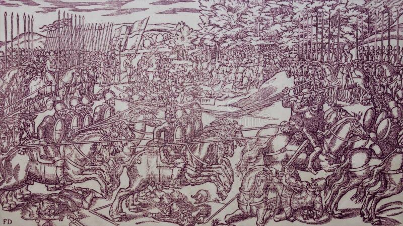 Столкновение между английским и ирландским всадниками в конце XVI века Автор: Джон Деррик, 1581 стоковая фотография