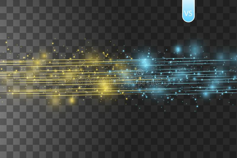 Столкновение 2 сил с золотом и голубым светом на прозрачной предпосылке также вектор иллюстрации притяжки corel Горячий и холодны бесплатная иллюстрация
