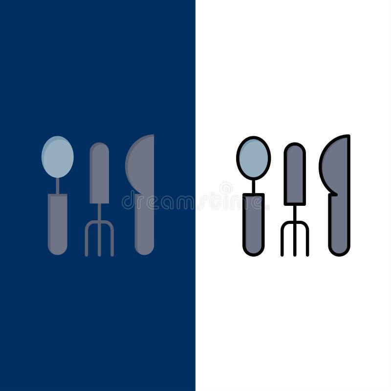 Столовый прибор, гостиница, обслуживание, значки перемещения Квартира и линия заполненный значок установили предпосылку вектора г иллюстрация вектора