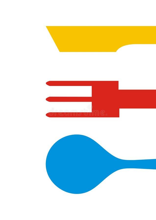 Столовый прибор, ложка, вилка и нож, пестротканое illustratiion вектора бесплатная иллюстрация