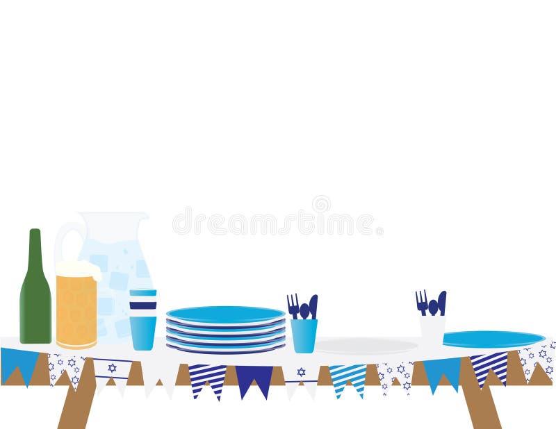 Стол для пикника Yom HaAtzmaut израильтянина иллюстрация штока