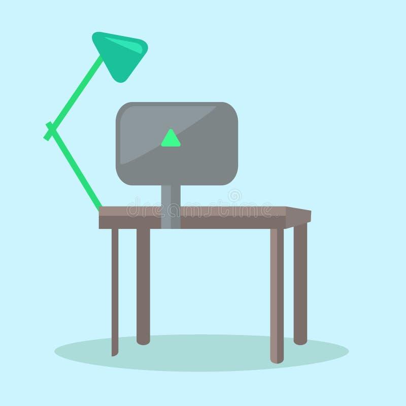 Стол компьютера с черными монитором и Чтени-лампой бесплатная иллюстрация