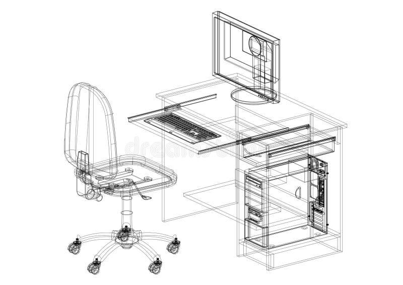 Стол офиса при изолированная светокопия архитектора компьютера - иллюстрация штока