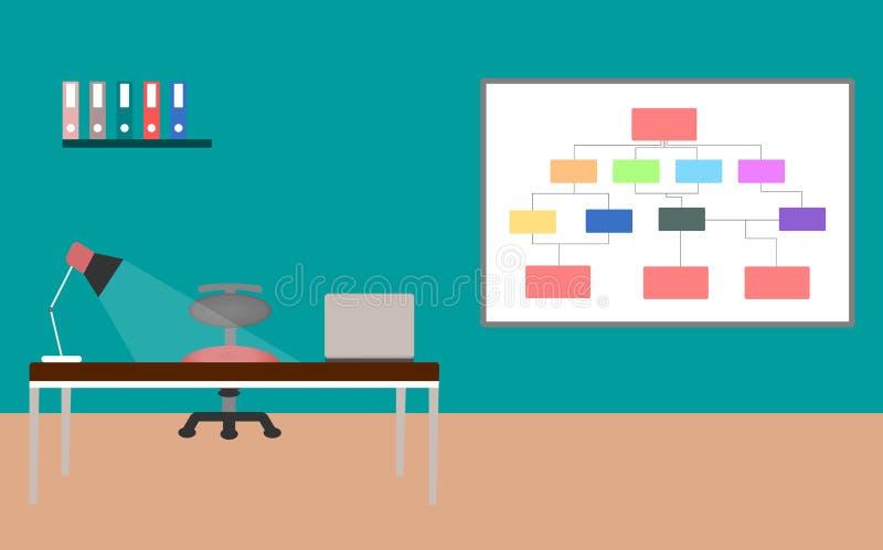 Стол офиса с дизайном интерьера ноутбука и лампы над предпосылкой цвета r бесплатная иллюстрация