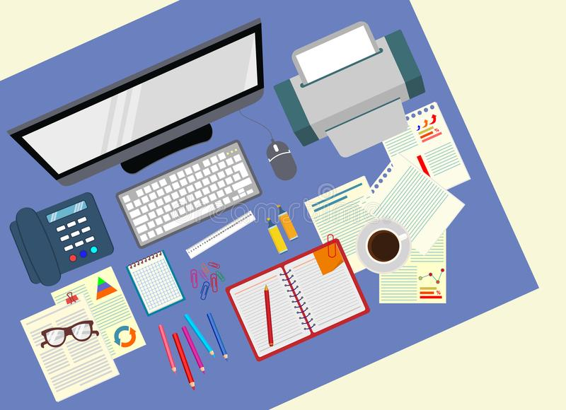 Стол офис Реалистическая организация рабочего места взгляд сверху шток иллюстрации конструкции под вектором иллюстрация вектора