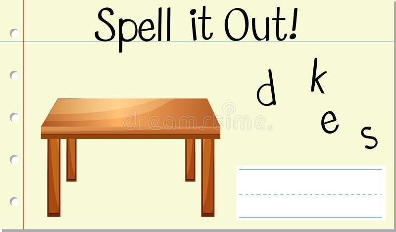 Стол слова произношения по буквам английский иллюстрация вектора