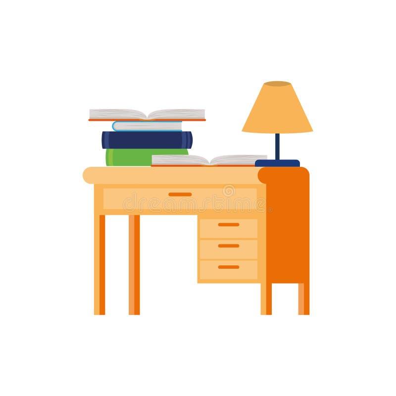 Стол со стогом книг на белой предпосылке бесплатная иллюстрация