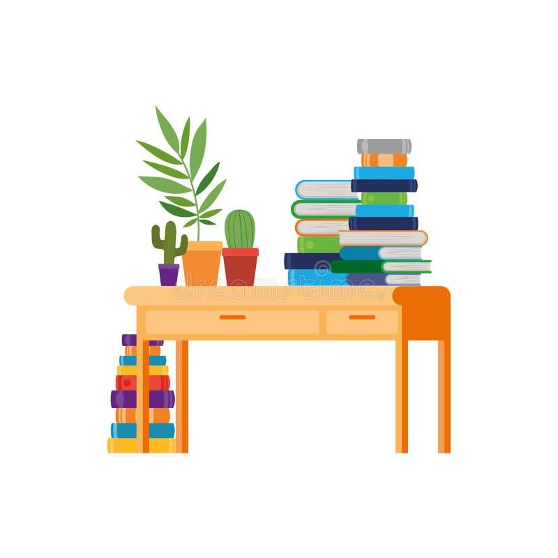 Стол со стогом книг на белой предпосылке иллюстрация вектора