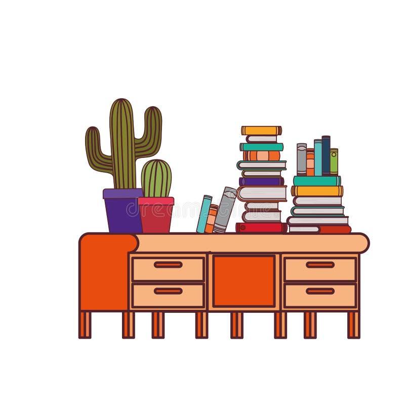 Стол со стогом книг на белой предпосылке иллюстрация штока