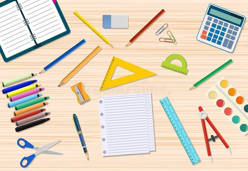 Стол студентов деревянный иллюстрация штока