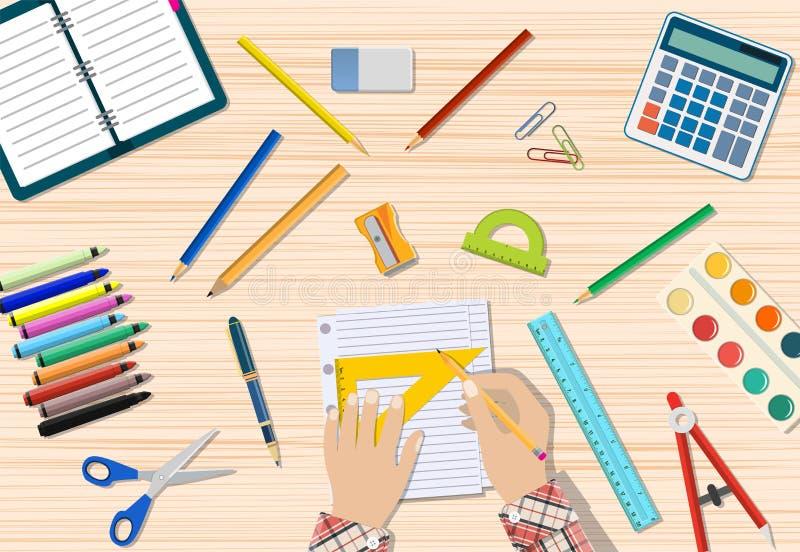 Стол студентов деревянный иллюстрация вектора