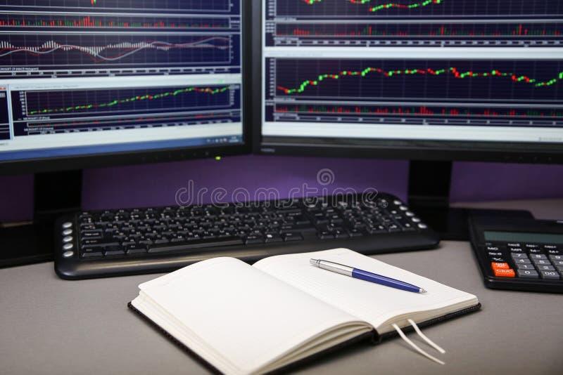 стол торговца с 2 мониторами рабочее место финансиста стоковые фото
