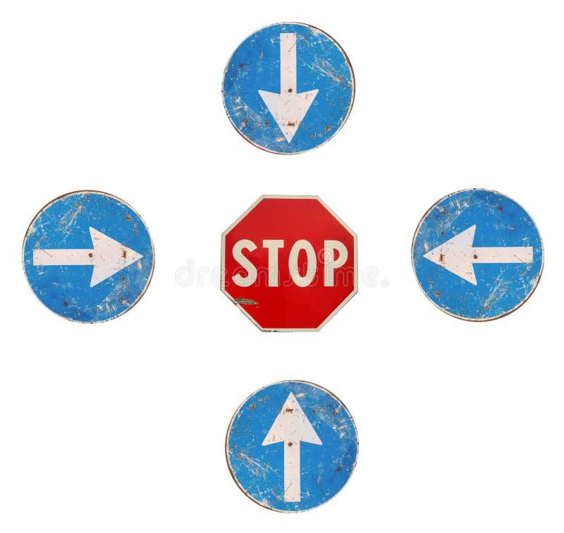 стоп дорожных знаков стрелок стоковое изображение