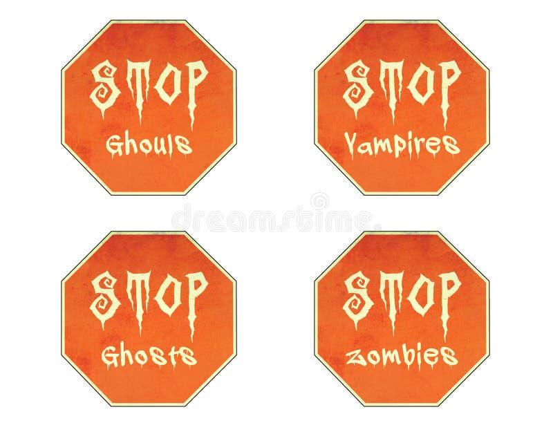 стоп знаков halloween иллюстрация вектора