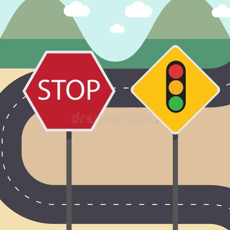 Стоп и знаки уличного движения с улицей иллюстрация вектора