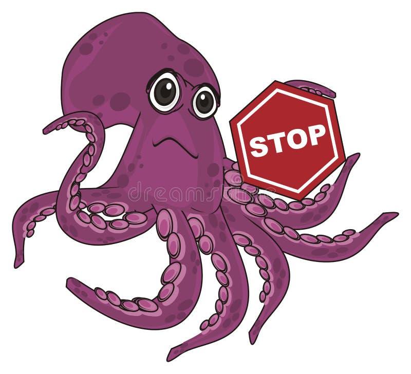 Стоп осьминога и знака бесплатная иллюстрация