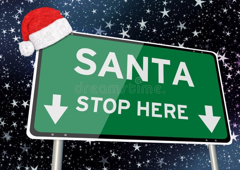 Стоп Санта здесь на указателе или афише против звездного неба ночью рождества или xmas o иллюстрация вектора