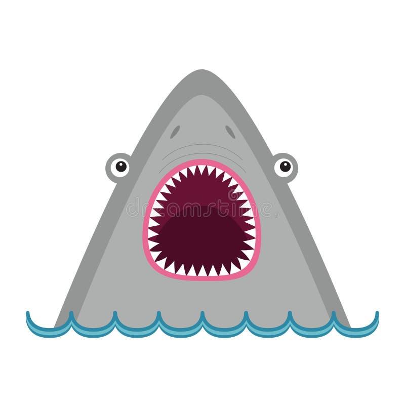 Сторона акулы головная с большим открытым ртом и острыми зубами Милый характер животного шаржа Карточка младенца воспитательная Д бесплатная иллюстрация