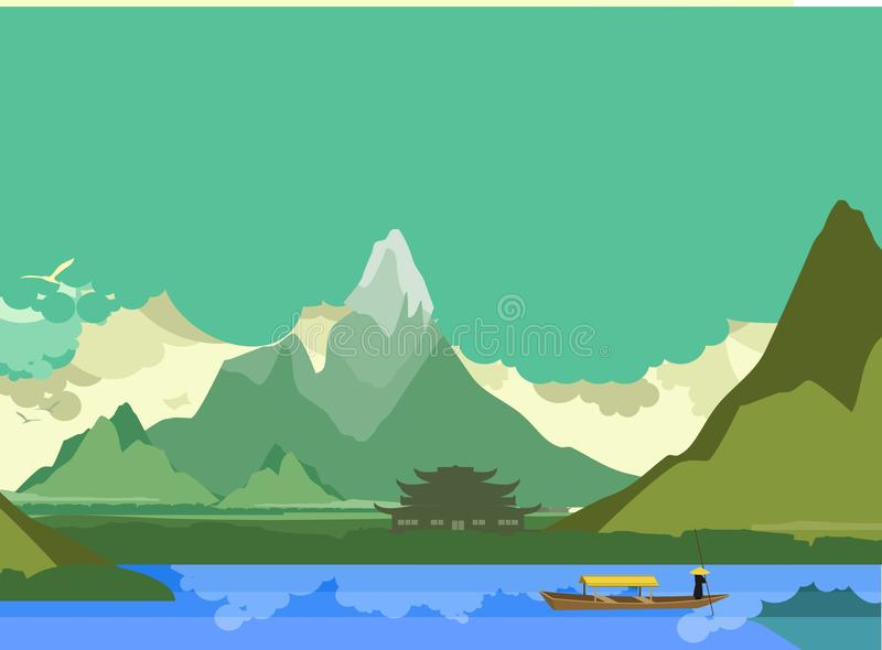 Сторона буддийского виска реки иллюстрация вектора