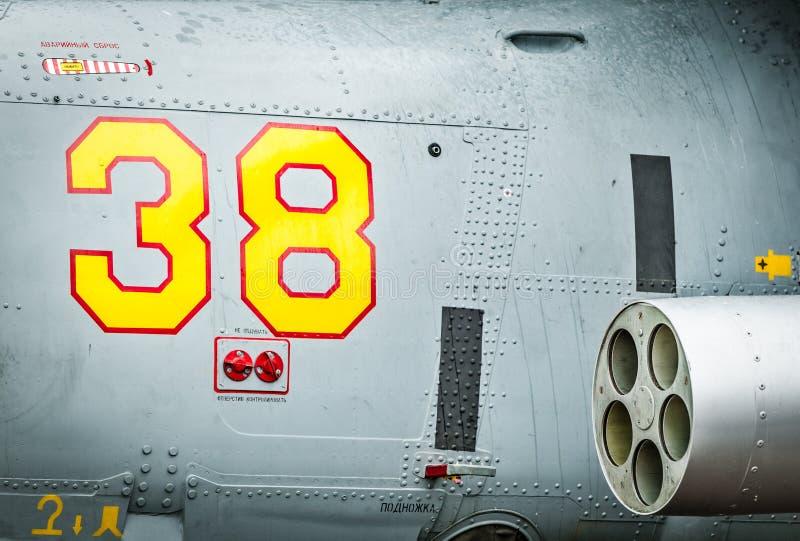 Сторона вертолета с ракетой и 38. стоковые фотографии rf