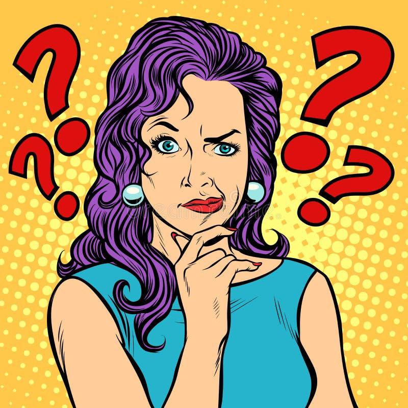 Сторона выражений лица женщины скептичная иллюстрация штока