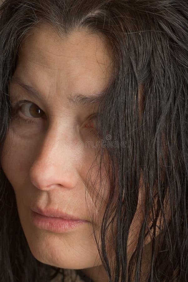 Сторона выражени-женщины эмоции стоковое изображение