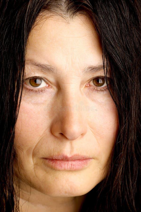 Сторона выражени-женщины эмоции стоковые фотографии rf