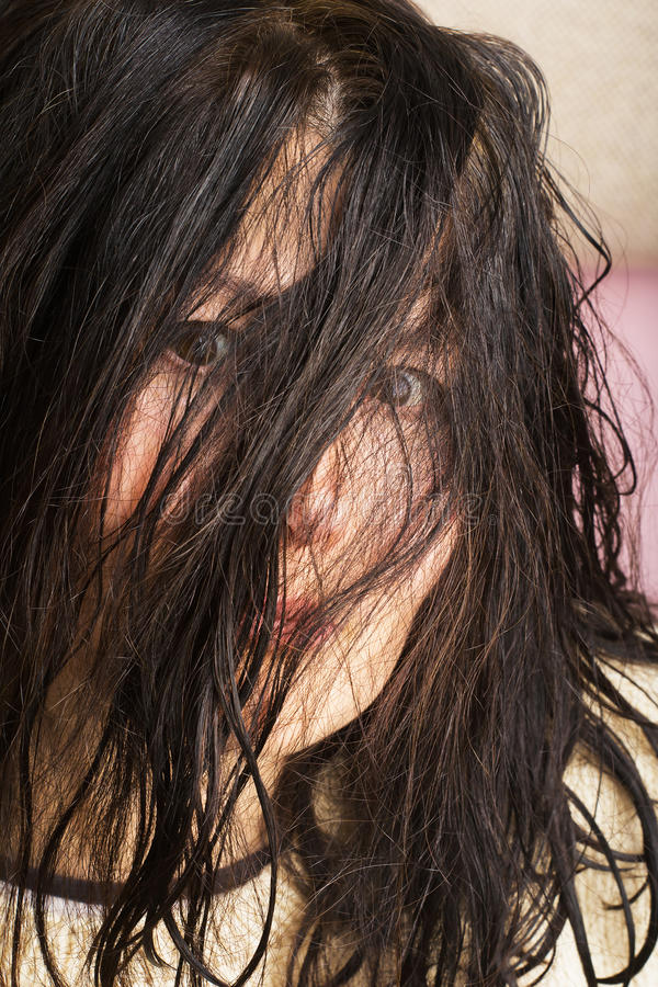 Сторона выражени-женщины эмоции стоковое фото rf