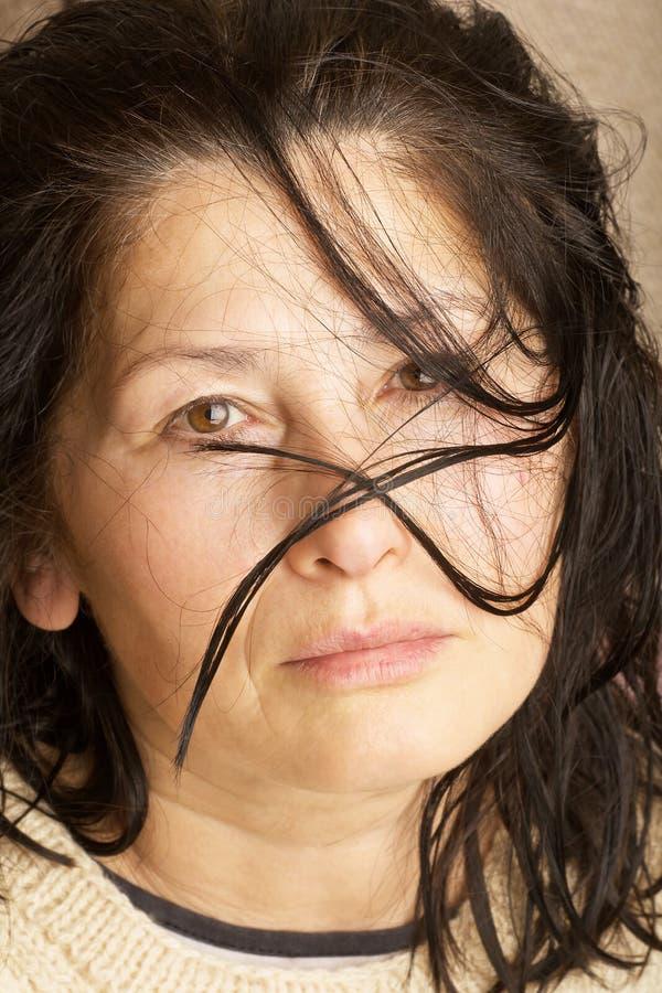 Сторона выражени-женщины эмоции стоковое фото