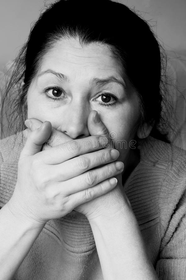 Сторона выражени-женщины эмоции стоковые фото
