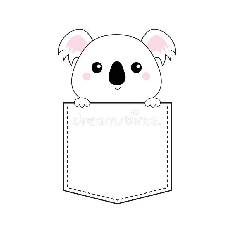 Сторона головы медведя коалы в карманн Держать руки лапки Эскиз Doodle линейный Милый персонаж из мультфильма рубашка t зажаренно бесплатная иллюстрация