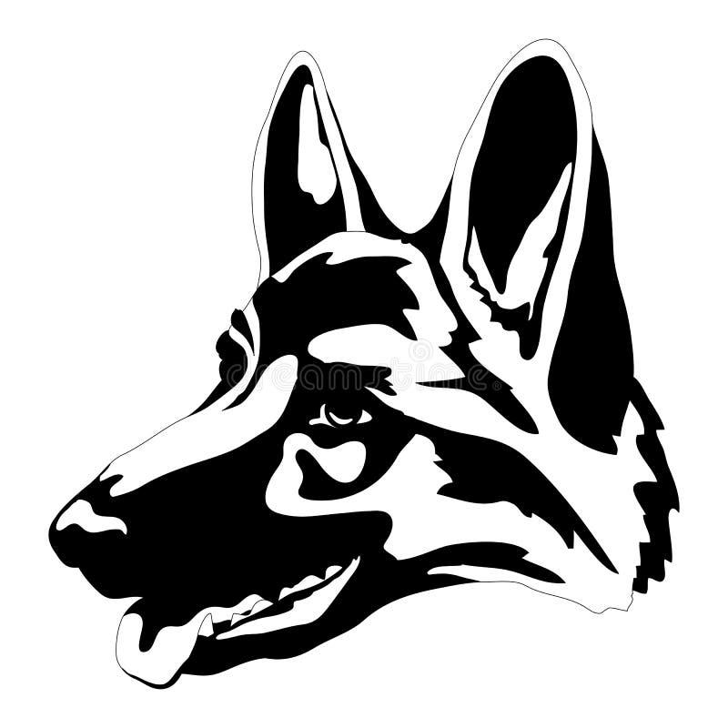 Сторона головы собаки немецкой овчарки бесплатная иллюстрация