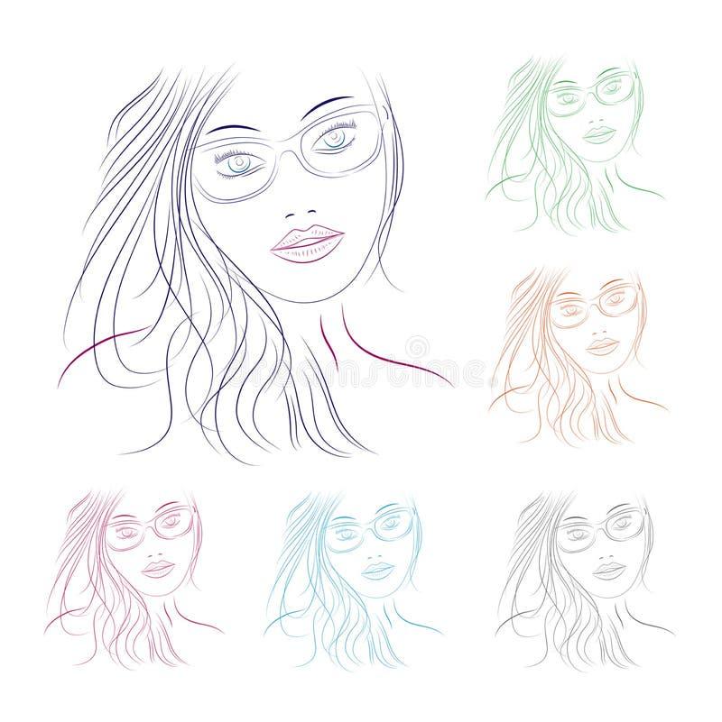 Сторона девушки в стеклах иллюстрация вектора