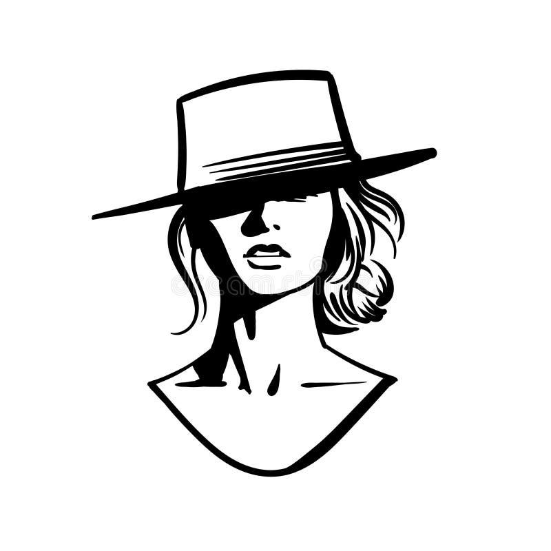 Сторона девушки ковбоя с шляпой Черно-белый вектор иллюстрация штока