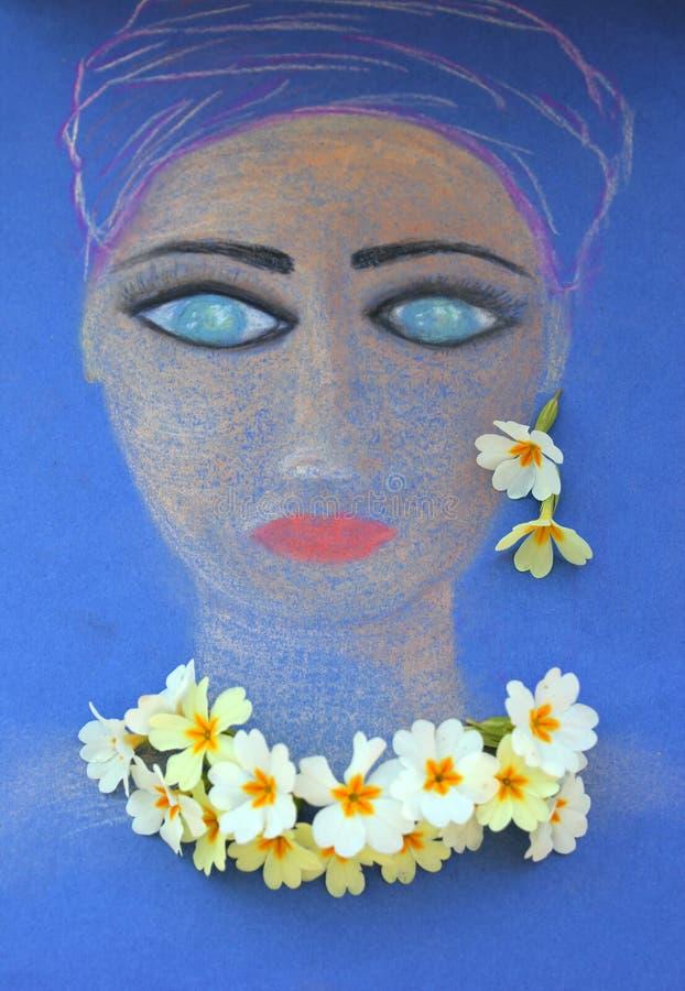 Сторона девушки покрасила с пастелями стоковое фото rf