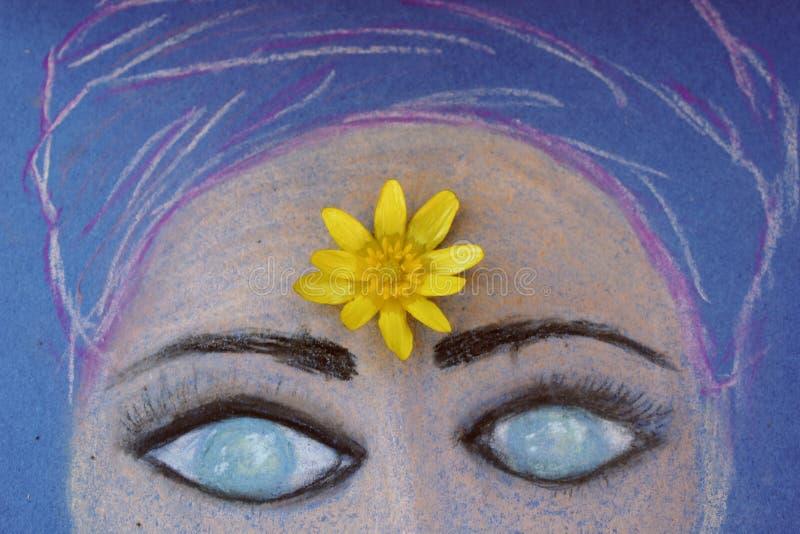Сторона девушки покрасила с пастелями стоковые изображения