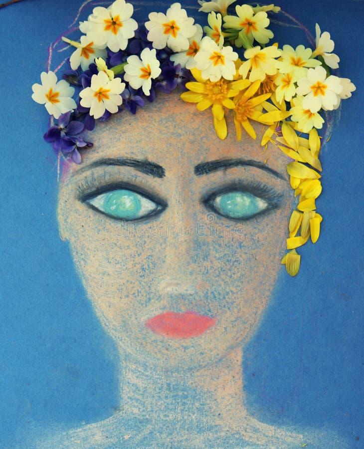 Сторона девушки покрасила с пастелями стоковая фотография rf