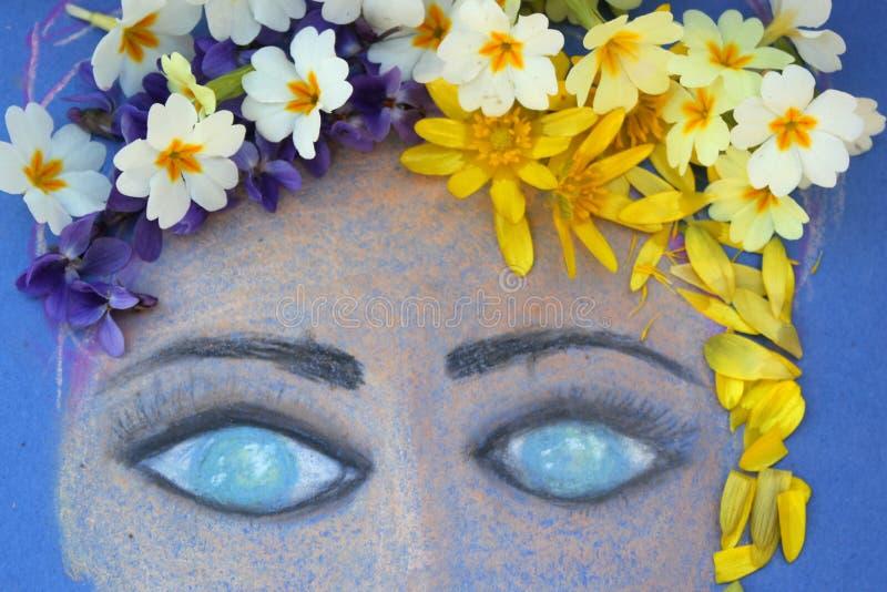 Сторона девушки покрасила с пастелями стоковая фотография