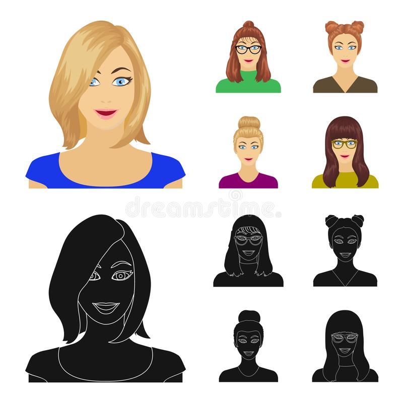 Сторона девушки с стеклами, женщины с hairdo Сторона и значки собрания возникновения установленные в шарже, черном стиле бесплатная иллюстрация