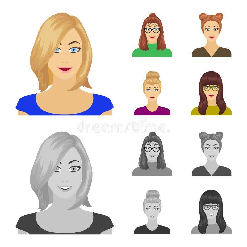 Сторона девушки с стеклами, женщины с hairdo Сторона и значки собрания возникновения установленные в шарже, monochrome бесплатная иллюстрация