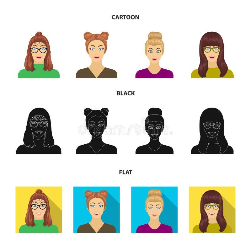 Сторона девушки с стеклами, женщины с hairdo Сторона и значки собрания возникновения установленные в шарже, черноте, плоской бесплатная иллюстрация
